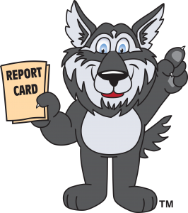 Wolf mascot holding report card
