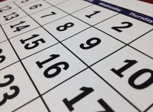 Close up of Monthly calendar with dates